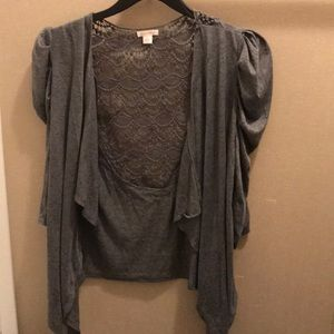 Charcoal gray lacy cardigan